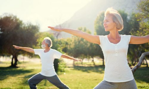 Yoga,At,Park.,Senior,Family,Couple,Exercising,Outdoors.,Concept,Of
